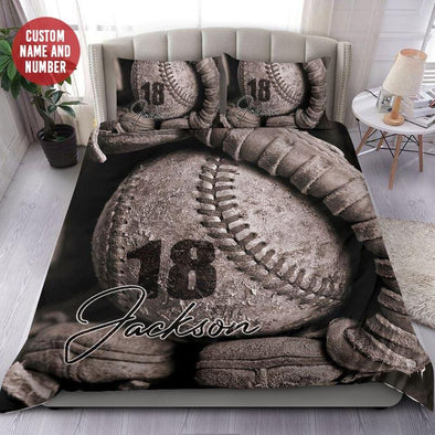 Baseball Vintage Glove and Ball Custom Duvet Cover Bedding Set with Your Name #1708L