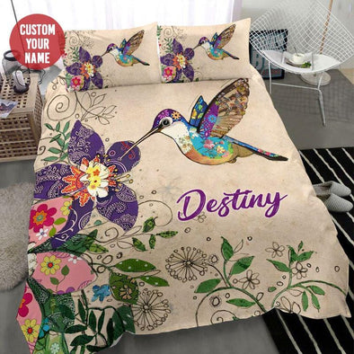 Beautiful Floral Hummingbird Custom Name Duvet Cover Bedding Set #0108l