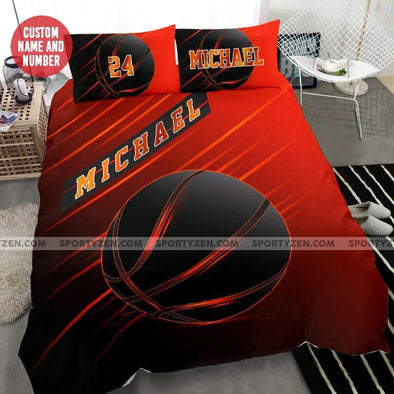 Black Basketball Ball Custom Duvet Cover Bedding Set with Your Name #17l