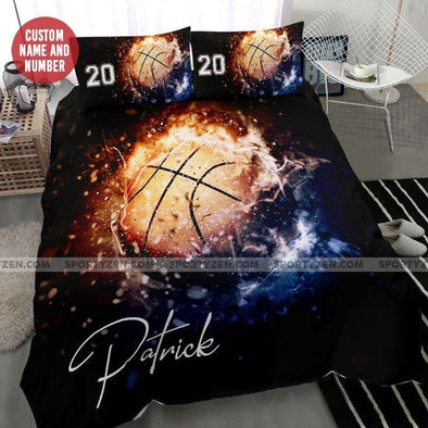 Basketball Fire Ball Custom Duvet Cover Bedding Set with Your Name And Number #606L