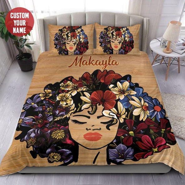Black Girl Flower Afro Custom Name Duvet Cover Bedding Set #608L