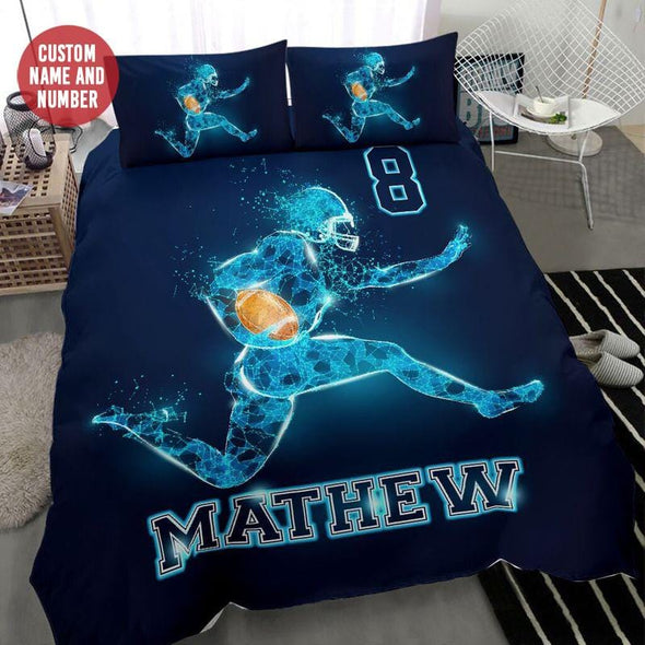 American Football Player Light Custom Duvet Cover Bedding Set with Your Name #68l