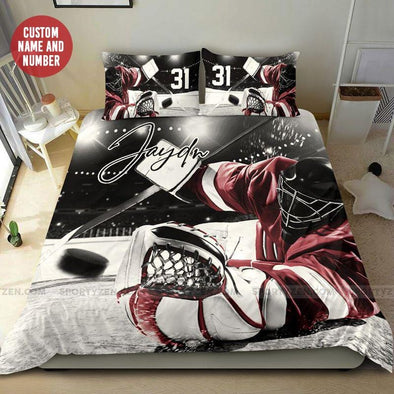 Ice Hockey Goalie Catching Puck Custom Name & Number Duvet Cover Bedding Set #58L