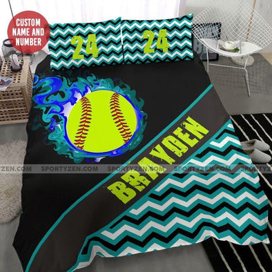 Softball Fire Custom Duvet Cover Bedding Set with Your Name #17l