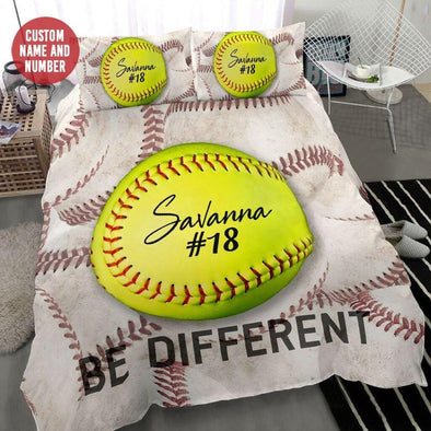 Be Different Softball Custom Duvet Cover Bedding Set with Your Name #268l