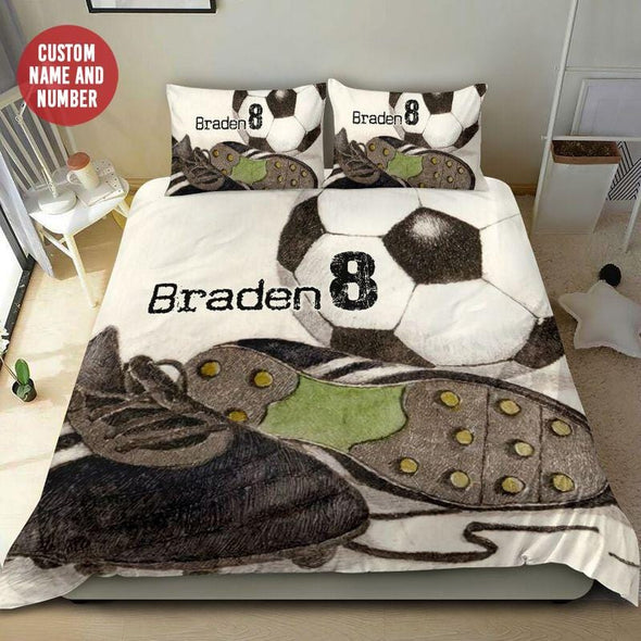 Soccer and Shoe Pencil Drawing Custom Duvet Cover Bedding Set with Your Name #0708l