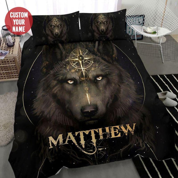 Strong Wolf With Compass Custom Duvet Cover Bedding Set with Your Name #68L
