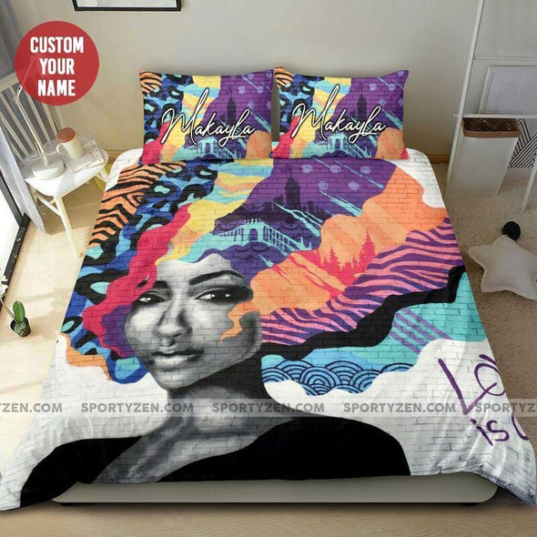 Black Girl Hair Full Color Custom Name Duvet Cover Bedding Set #76L