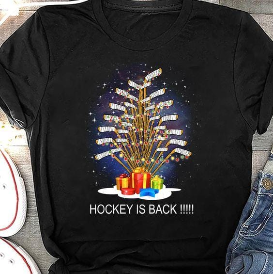 Hockey Is Back Sticks Tree Christmas T-shirt