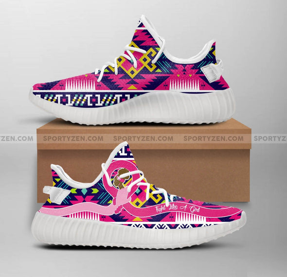Breast Cancer Awareness Fight Like A Black Girl White Y.eezy Shoes