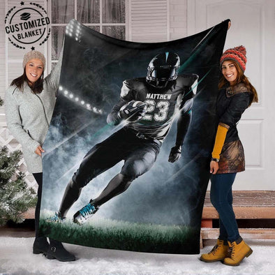 American Football Player On The Field Custom name and number Blanket