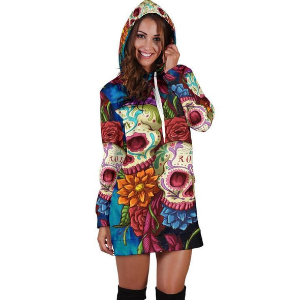 Sugar Skull Hoodie Dress 3D All Over Print Christmas Gifts