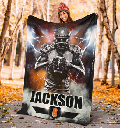 Thunder American Football Player Custom name and number Blanket