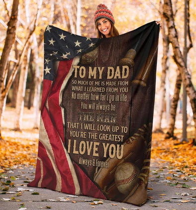 To my Dad I love you Baseball Customized Blanket With Name