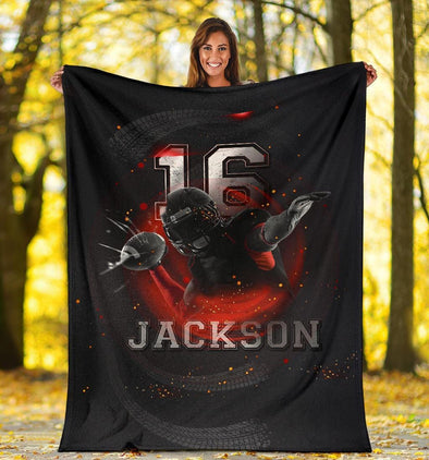 Custom Football Power Blanket With Name And Number #DH