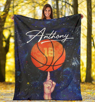 Basketball On Finger Custom Name and Number Fleece Blanket