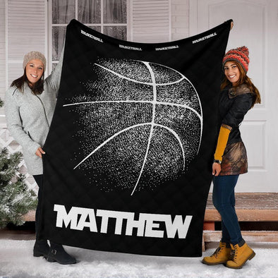Basketball Black and White Ball Custom Name and Number Fleece Blanket