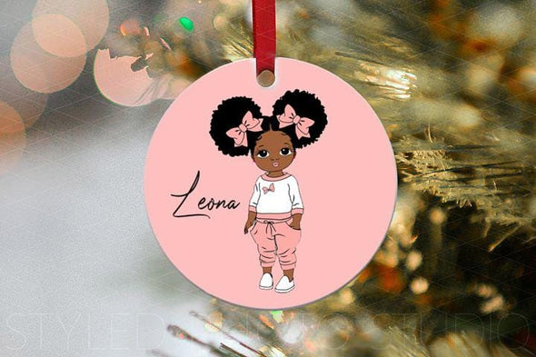 Black Baby Girl So Cute Christmas Ornament custom name #V