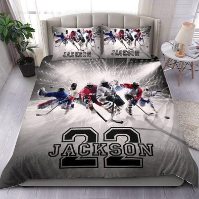 Personalized Ice Hockey Team Duvet Cover Bedding Set Custom Name Number #1908L