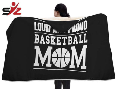 "CN Hooded Blanket Basketball Hooded Blanket / Youth 60""x45"" Loud And Proud Basketball Mom Hooded Blanket #2410V"
