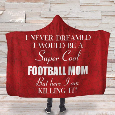 CN Hooded Blanket Hooded Blanket / Red / Adult Football Mom Hooded Blanket #3110L