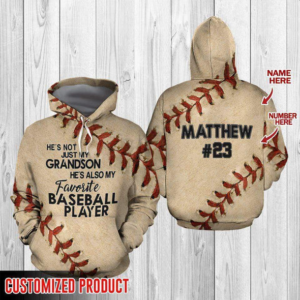 manual Hoodie 3D Customized He's my favorite baseball player with name