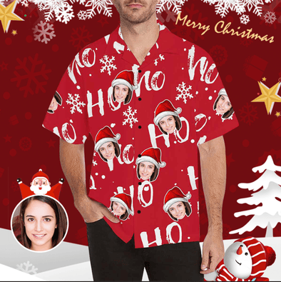 Custom Face On Funny Ho Ho Ho Red Hawaiian Aloha Shirts