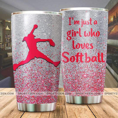 manual I'm just a girl who loves softball Tumbler 20 Oz Stainless Steel #174h