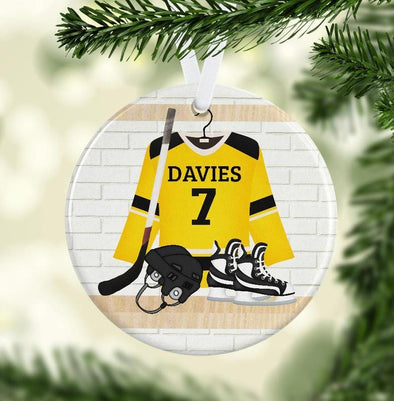 Custom Name And Number Ice Hockey Jersey Ornament