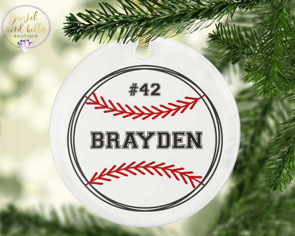 Personalized Baseball Christmas Gift Ornament custom name #V