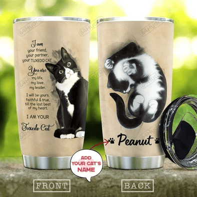 Bicolor cat , Tuxedo Cat you are my love Stainless Steel Tumbler with Your Name #V