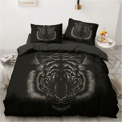 Tiger Black Background Bedding Custom Name Duvet Cover Bedding Set #DH