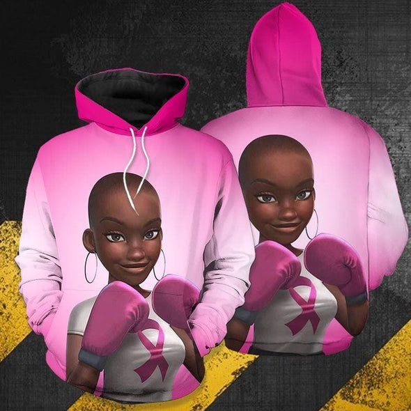 Breast Cancer Awareness Black Woman Strong Support African Hoodie 3D #H