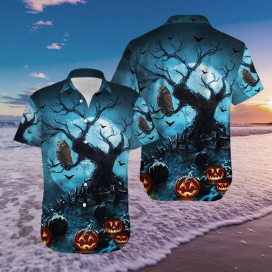 Owl Night With Pumpkin Halloween Hawaiian Aloha Shirts #1010H