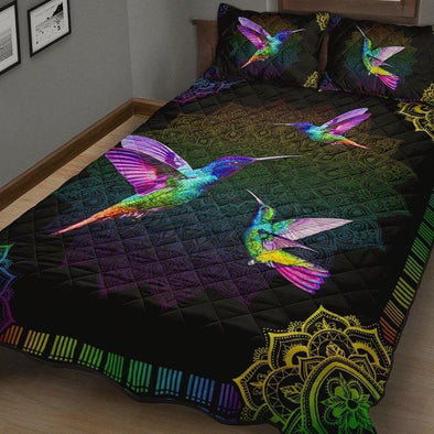 Hummingbird Colorful Bohemian Quilt Bed Set #2408H
