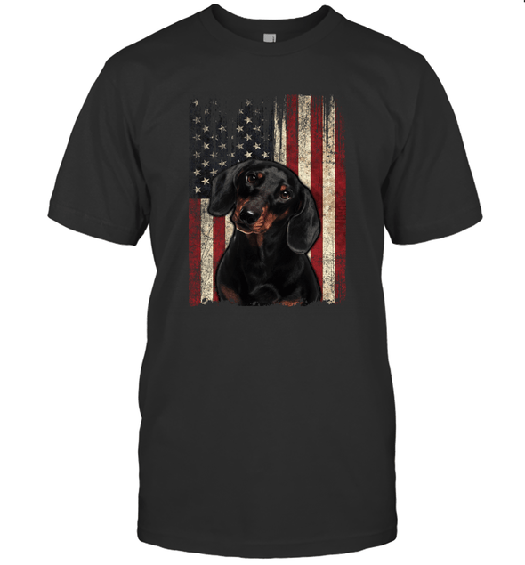 Dachshund Dog Lover Retro Vintage Distressed American Flag T shirt