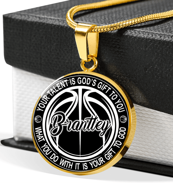 GearLaunch Jewelry Shine On Circle Luxury Necklace (Gold) / Gold Custom Basketball necklace Your talent is God's gift to you