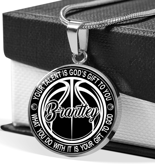 GearLaunch Jewelry Shine On Circle Luxury Necklace (Stainless) / Stainless Custom Basketball necklace Your talent is God's gift to you
