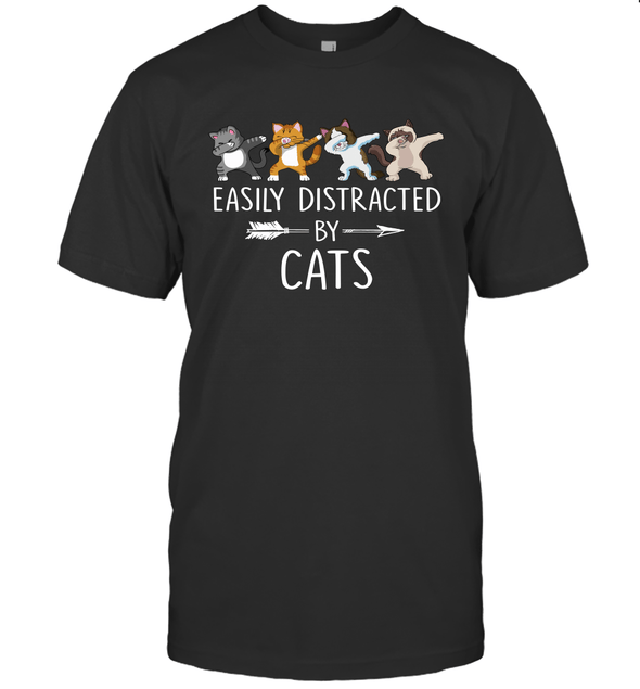 Easily Distracted By Cats Kitten Lover Funny Dabbing Cat T shirt