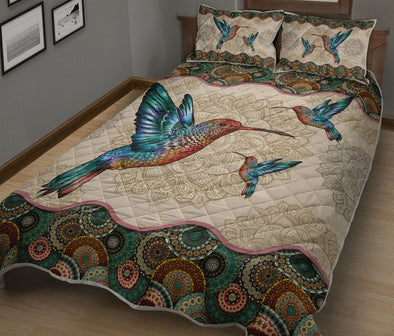 Hummingbird Mother and Kids Mandala Quilt Bed Set
