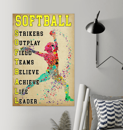 Softball Label Canvas Print