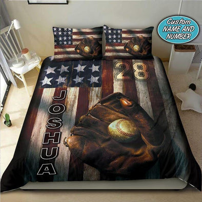 American Flag Baseball Custom Name & Number Duvet Cover Bedding Set #3107V