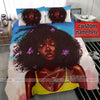 Black girl with flower on hair fro duvet cover bedding set with name #2606v