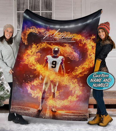 Football Fire Player Custom Name And Number Blanket #2409V