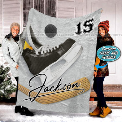 Ice Hockey Skate Puck Stick Customized Name and Number Fleece Blanket #298v