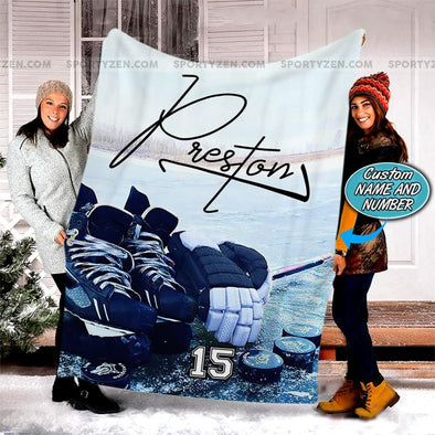 Ice Hockey Stuff Customized Name and Number Fleece Blanket #298v