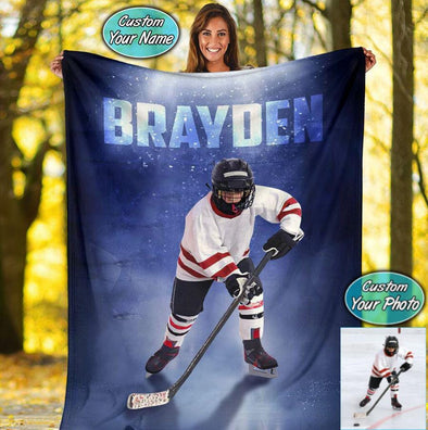 Ice Hockey Player Customized Photo Fleece Blanket #219h