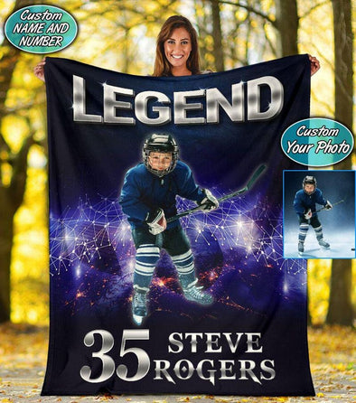 Legend Hockey Player Custom Photo Blanket #2410v