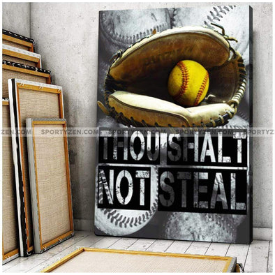 Thou shalt not steal Softball Canvas Wall Art print