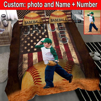 Baseball Player Flag Vintage Custom Duvet Cover Bedding Set with Photo #1510V